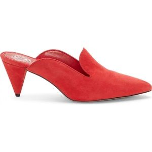 Vince Camuto Cessilia Suede Red Pointed Mule Heels